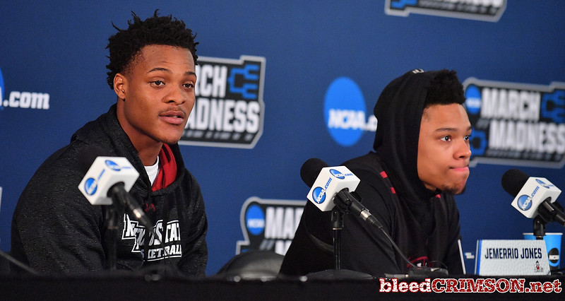 SAN DIEGO, CA - MARCH 15:  Jemerrio Jones (L) #10 and Zach Lofton #23 of the New Mexico State Aggies address the media during media day of the Men's NCAA Basketball Tournament - San Diego - Practice Sessions at Viejas Arena in San Diego, California.  (Photo by Sam Wasson/bleedCrimson.net)