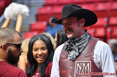 SAN DIEGO, CA - MARCH 15:  New Mexico State Aggies mascot Pistol Pete stands on the court during the open practice session during media day of the Men's NCAA Basketball Tournament - San Diego - Practice Sessions at Viejas Arena in San Diego, California.  (Photo by Sam Wasson/bleedCrimson.net)