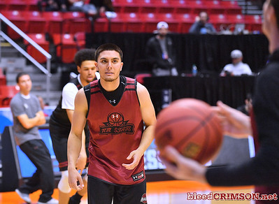 SAN DIEGO, CA - MARCH 15:  Joe Garza #15 of the New Mexico State Aggies warms up during the open practice session during media day of the Men's NCAA Basketball Tournament - San Diego - Practice Sessions at Viejas Arena in San Diego, California.  (Photo by Sam Wasson/bleedCrimson.net)