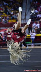 LAS CRUCES, NEW MEXICO - MARCH 05, 2020:  A New Mexico State Aggies cheerleader performs at halftime of a game between the Aggies and Cal Baptist Lancers at the Pan American Center on March 5, 2020 in Las Cruces, New Mexico. The Aggies defeated the Lancers 83-50 to complete a perfect 16-0 record in WAC play.  (Photo by Sam Wasson/bleedCrimson.net)