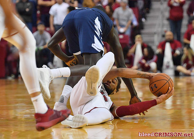 LAS CRUCES, NEW MEXICO - MARCH 05, 2020:  Johnny McCants #35 of the New Mexico State Aggies dives for a loose ball against Bul Kuol #11 of the Cal Baptist Lancers during their game at the Pan American Center on March 5, 2020 in Las Cruces, New Mexico. The Aggies defeated the Lancers 83-50 to complete a perfect 16-0 record in WAC play.  (Photo by Sam Wasson/bleedCrimson.net)