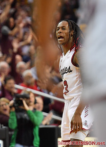 LAS CRUCES, NEW MEXICO - MARCH 05, 2020:  Terrell Brown #3 of the New Mexico State Aggies celebrates during his team's game against the Cal Baptist Lancers at the Pan American Center on March 5, 2020 in Las Cruces, New Mexico. The Aggies defeated the Lancers 83-50 to complete a perfect 16-0 record in WAC play.  (Photo by Sam Wasson/bleedCrimson.net)