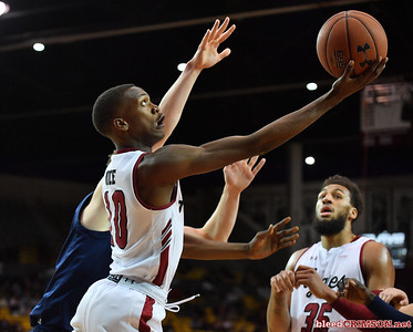 LAS CRUCES, NEW MEXICO - MARCH 05, 2020:  Jabari Rice #10 of the New Mexico State Aggies shoots against the Cal Baptist Lancers during their game at the Pan American Center on March 5, 2020 in Las Cruces, New Mexico. The Aggies defeated the Lancers 83-50 to complete a perfect 16-0 record in WAC play.  (Photo by Sam Wasson/bleedCrimson.net)