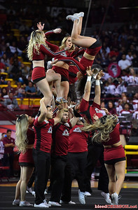 LAS CRUCES, NEW MEXICO - MARCH 05, 2020:  New Mexico State Aggies cheerleaders perform at halftime of a game between the Aggies and Cal Baptist Lancers at the Pan American Center on March 5, 2020 in Las Cruces, New Mexico. The Aggies defeated the Lancers 83-50 to complete a perfect 16-0 record in WAC play.  (Photo by Sam Wasson/bleedCrimson.net)