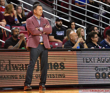 LAS CRUCES, NEW MEXICO - MARCH 05, 2020:  Head coach Chris Jans of the New Mexico State Aggies looks on during his team's game against the Cal Baptist Lancers at the Pan American Center on March 5, 2020 in Las Cruces, New Mexico. The Aggies defeated the Lancers 83-50 to complete a perfect 16-0 record in WAC play.  (Photo by Sam Wasson/bleedCrimson.net)
