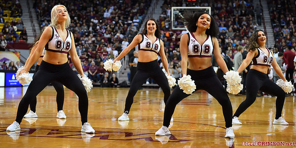 LAS CRUCES, NEW MEXICO - MARCH 05, 2020:  Members of the New Mexico State Aggies Sundancers dance team perform during the team's game between against the Cal Baptist Lancers at the Pan American Center on March 5, 2020 in Las Cruces, New Mexico. The Aggies defeated the Lancers 83-50 to complete a perfect 16-0 record in WAC play.  (Photo by Sam Wasson/bleedCrimson.net)