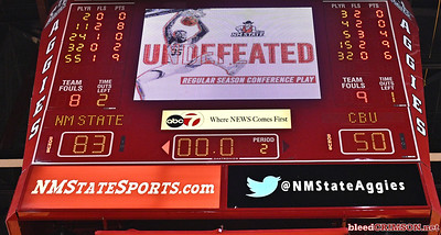 LAS CRUCES, NEW MEXICO - MARCH 05, 2020:  The video scoreboard in the Pan American Center displays an 'Undefeated' graphic after a game between the Cal Baptist Lancers and the New Mexico State Aggies on March 5, 2020 in Las Cruces, New Mexico. The Aggies defeated the Lancers 83-50 to complete a perfect 16-0 record in WAC play.  (Photo by Sam Wasson/bleedCrimson.net)