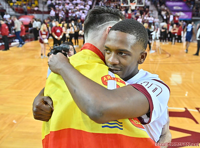 LAS CRUCES, NEW MEXICO - MARCH 05, 2020:  Jabari Rice #10 of the New Mexico State Aggies hugs Ivan Aurrecoechea #15 after their game against the Cal Baptist Lancers at the Pan American Center on March 5, 2020 in Las Cruces, New Mexico. The Aggies defeated the Lancers 83-50 to complete a perfect 16-0 record in WAC play.  (Photo by Sam Wasson/bleedCrimson.net)