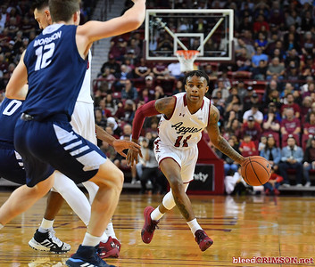 LAS CRUCES, NEW MEXICO - MARCH 05, 2020:  Evan Gilyard #11 of the New Mexico State Aggies drives against the Cal Baptist Lancers during their game at the Pan American Center on March 5, 2020 in Las Cruces, New Mexico. The Aggies defeated the Lancers 83-50 to complete a perfect 16-0 record in WAC play.  (Photo by Sam Wasson/bleedCrimson.net)