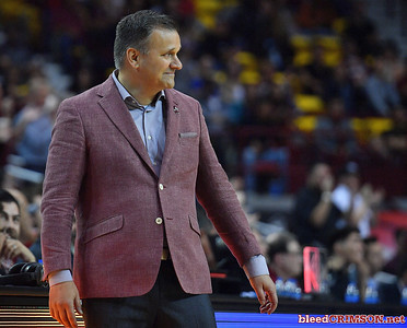 LAS CRUCES, NEW MEXICO - MARCH 05, 2020:  Head coach Chris Jans of the New Mexico State Aggies reacts after Trevelin Queen #21 dunked against the Cal Baptist Lancers during their game at the Pan American Center on March 5, 2020 in Las Cruces, New Mexico. The Aggies defeated the Lancers 83-50 to complete a perfect 16-0 record in WAC play.  (Photo by Sam Wasson/bleedCrimson.net)
