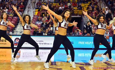LAS CRUCES, NEW MEXICO - MARCH 05, 2020:  Members of the New Mexico State Aggies Sundancers dance team perform during halftime of the team's game against the Cal Baptist Lancers at the Pan American Center on March 5, 2020 in Las Cruces, New Mexico.  (Photo by Sam Wasson/bleedCrimson.net)