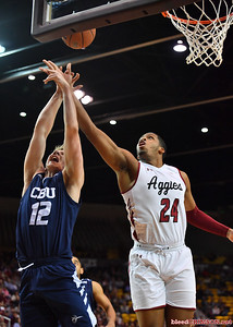 LAS CRUCES, NEW MEXICO - MARCH 05, 2020:  William McNair #24 of the New Mexico State Aggies and Glenn Morison #12 of the Cal Baptist Lancers battle for a reobund during their game at the Pan American Center on March 5, 2020 in Las Cruces, New Mexico. The Aggies defeated the Lancers 83-50 to complete a perfect 16-0 record in WAC play.  (Photo by Sam Wasson/bleedCrimson.net)