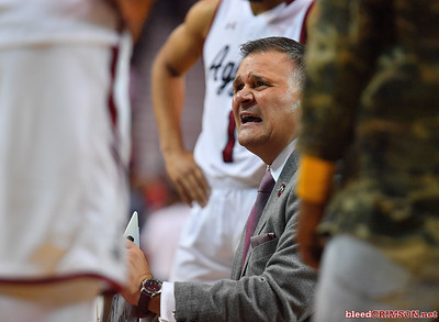 LAS CRUCES, NEW MEXICO - NOVEMBER 20, 2019:  Head coach Chris Jans of the New Mexico State Aggies shouts at his team during a timeout of their game against the New Mexico Lobos at The Pan American Center on November 20, 2019 in Las Cruces, New Mexico. The Lobos defeated the Aggies 78-77.  (Photo by Sam Wasson/bleedCrimson.net)