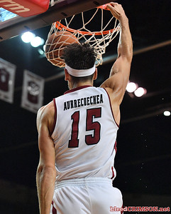 LAS CRUCES, NEW MEXICO - NOVEMBER 20, 2019:  Ivan Aurrecoechea #15 of the New Mexico State Aggies dunks against the New Mexico Lobos during their game at The Pan American Center on November 20, 2019 in Las Cruces, New Mexico. The Lobos defeated the Aggies 78-77.  (Photo by Sam Wasson/bleedCrimson.net)