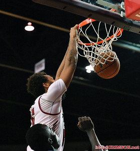 LAS CRUCES, NEW MEXICO - NOVEMBER 20, 2019:   Johnny McCants #35 of the New Mexico State Aggies\ dunks against the New Mexico Lobos during their game at The Pan American Center on November 20, 2019 in Las Cruces, New Mexico. The Lobos defeated the Aggies 78-77.  (Photo by Sam Wasson/bleedCrimson.net)