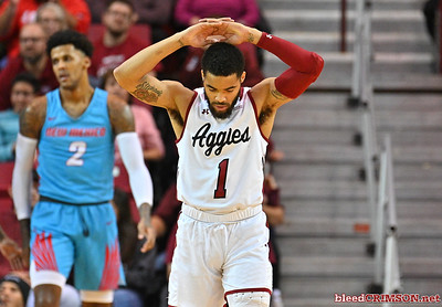 LAS CRUCES, NEW MEXICO - NOVEMBER 21, 2019:  Shunn Buchanan #1 of the New Mexico State Aggies reacts reacts after being called for a foul during his team's game against the New Mexico Lobos at The Pan American Center on November 21, 2019 in Las Cruces, New Mexico. The Lobos defeated the Aggies 78-77.  (Photo by Sam Wasson/bleedCrimson.net)