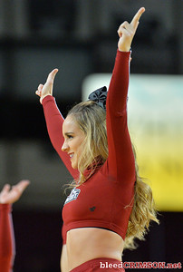 LAS CRUCES, NEW MEXICO - NOVEMBER 21, 2019:  A New Mexico State Aggies cheerleader performs during the team's game against the New Mexico Lobos at The Pan American Center on November 21, 2019 in Las Cruces, New Mexico. The Lobos defeated the Aggies 78-77.  (Photo by Sam Wasson/bleedCrimson.net)