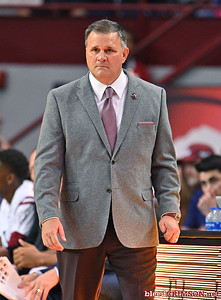 LAS CRUCES, NEW MEXICO - NOVEMBER 21, 2019:  Head coach Chris Jans of the New Mexico State Aggies  looks on during his team's game against the New Mexico Lobos at The Pan American Center on November 21, 2019 in Las Cruces, New Mexico. The Lobos defeated the Aggies 78-77.  (Photo by Sam Wasson/bleedCrimson.net)