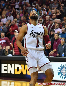 LAS CRUCES, NEW MEXICO - NOVEMBER 20, 2019:  Shunn Buchanan #1 of the New Mexico State Aggies reacts after his shot misses during his team's game against the New Mexico Lobos at The Pan American Center on November 20, 2019 in Las Cruces, New Mexico. The Lobos defeated the Aggies 78-77.  (Photo by Sam Wasson/bleedCrimson.net)
