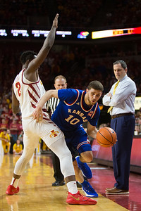 Scene from NCAA basketball game between Kansas and  Iowa State at Hilton Coliseum in Ames, Iowa on February 13, 2018. Photo by Wesley Winterink.