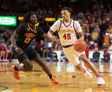 Scene from NCAA basketball game between Oklahoma State and Iowa State at Hilton Coliseum in Ames, Iowa on January 21, 2020.  Photo © Wesley Winterink.