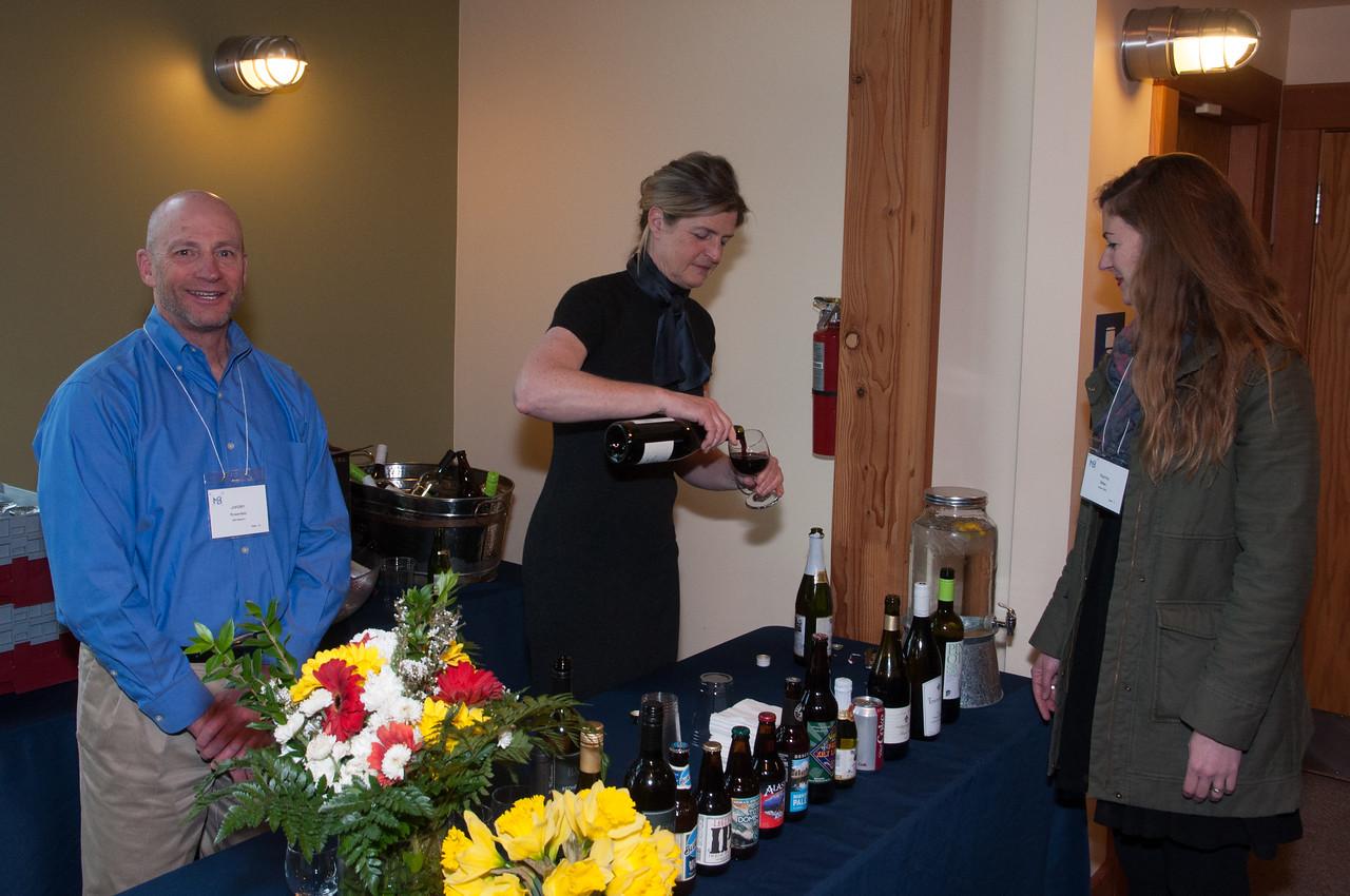 Jordan Rosenfeld and Kim Lavacot Serving Beverages
