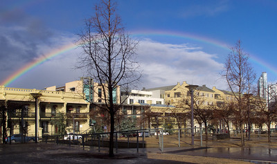 Rainbow over Melbourne Business School, 13 July 2011