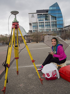 Student taking measurements on a Leica GNSS System, University Square. Sep 2012