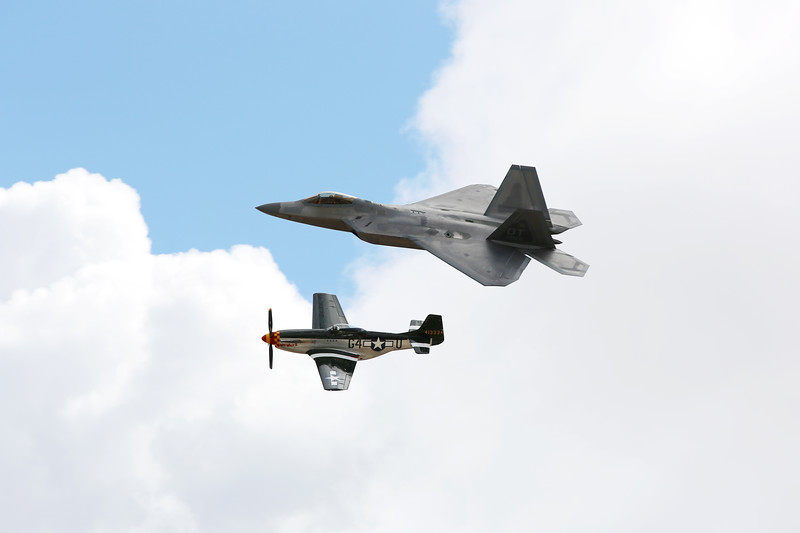 Heritage Flight, P-51 Mustang & F-22 Raptor, Marine Corps Air Station Miramar, California