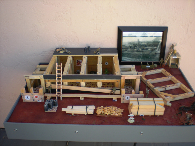 Model of the bunker built by NMCB-10 at Firebase Charlie 2 north of Cam Lo during Nov and Dec of 1967<br /> Model built by John O'Brien