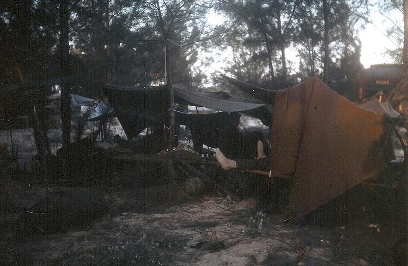 Makeshift shelters.