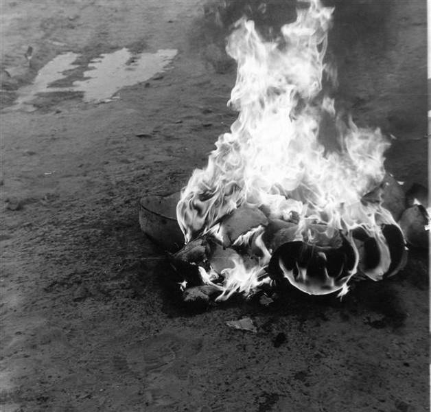 Burning hard hats.