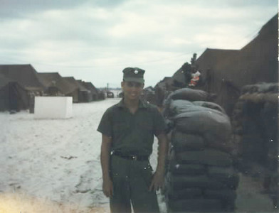 Sand bagged bunkers and tents-Christmas week