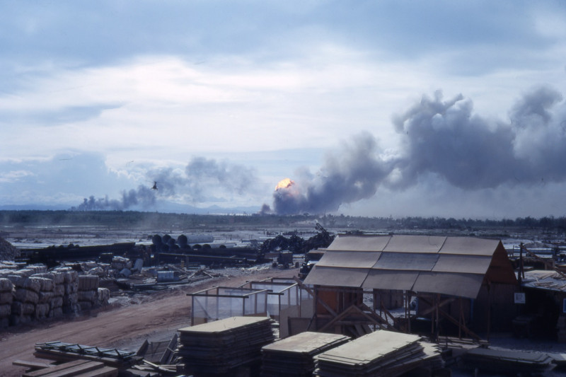 Dong Ha ASP Under Enemy Rocket Attack-Viewed From Quang Tri 1968
