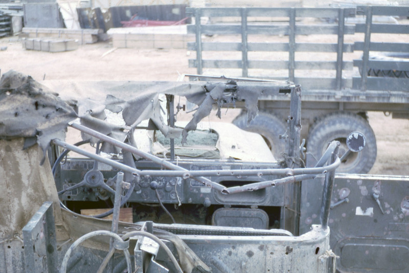 MCB-11 Vehicle Damaged by Mortar Fire-Route 9, Rock Pile 1968