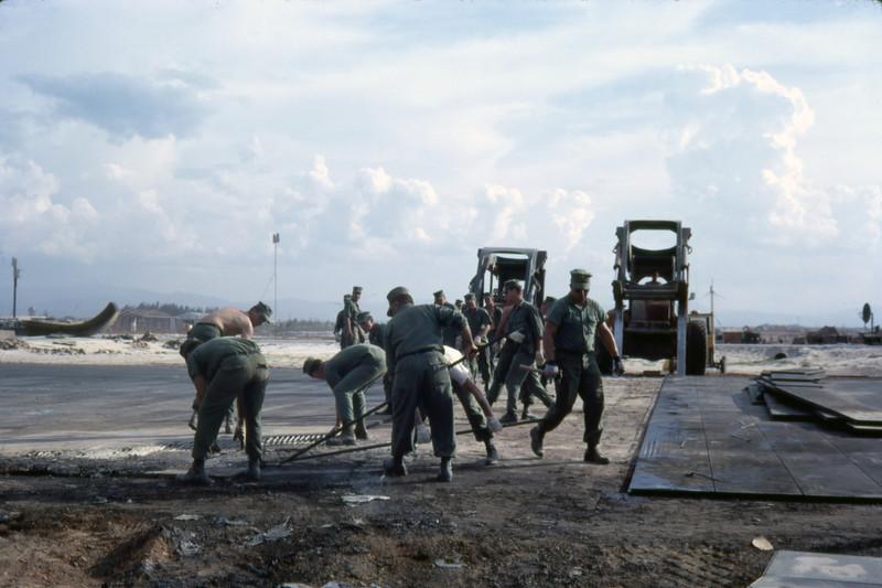 MCB-11 Repairs Rocket Damage to Quang Tri Air Base 1968