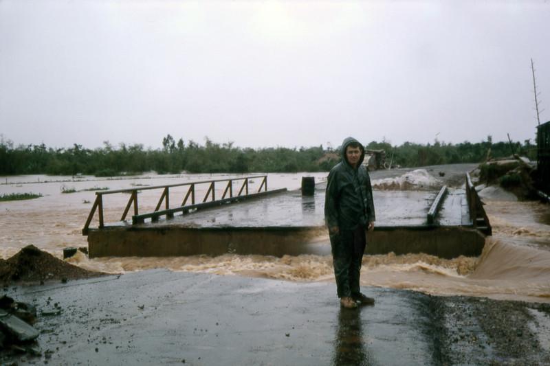 Ltjg. Bob Cahill Surveys Flood Damage-Route 1 Quang Tri 1968