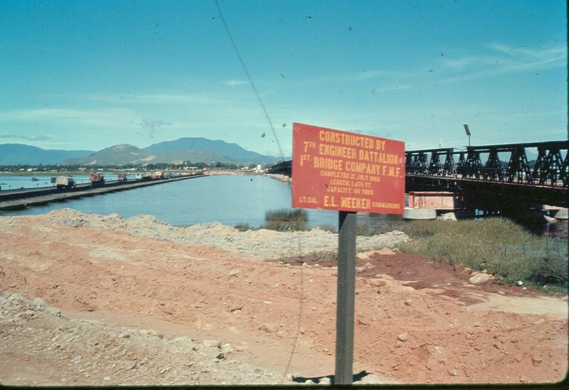 Temporary USMC Floating Bridge Left Seabee Repaired Bridge Right-1966