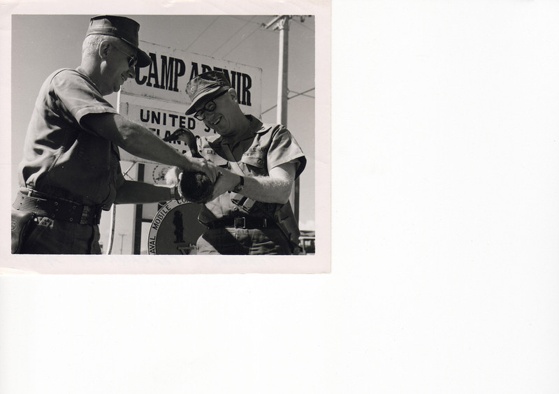 'Passing of the Duck' to MCB-12 at inbound Camp Adenir ceremonies (September '68).  The CO of MCB-53 CO of MCB-12, Cmdr. James L. Lee, CEC, USNR.
