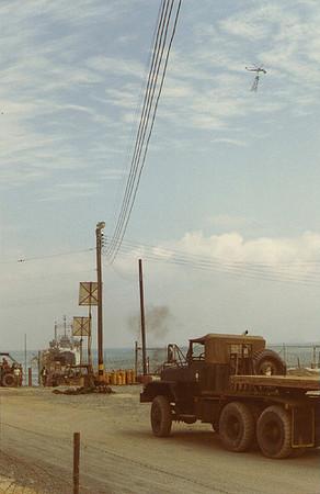 Trucks Waiting for Sky Crane