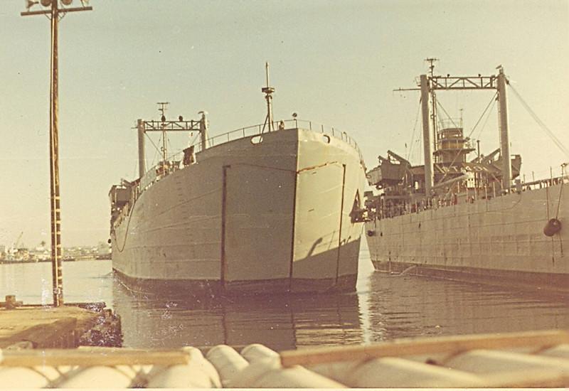 LST unloading heavy munitions
