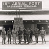 1969 Group photo showing (LtoR):  unknown;  Lt. Cdr. Bob Maddox, Co. Cmdr. Co. D, MCB-22;  Col. in Air Force, unknown;  Cdr. Roy L. Dunlap, C.O. MCB-22;  unknown;  Lt. Bill Schell, Co. Cmdr. Co. H, MCB-22;  BU-1 Pete Montoya, his crew constructed this structure;  EO-1 Elwood Eichler;  Sr. Chief Douglas Waters.