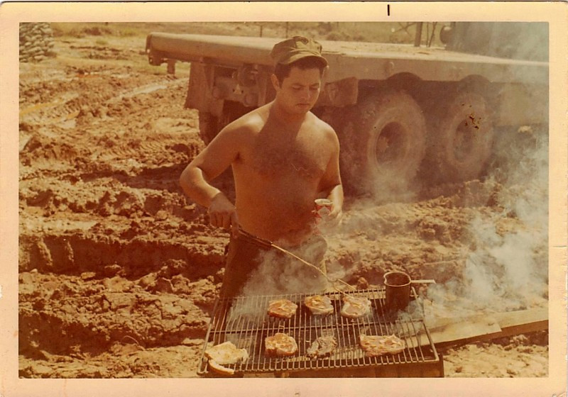 Geno the grillmaster in An Hoa. Traded some plywood to the Marines for the steaks