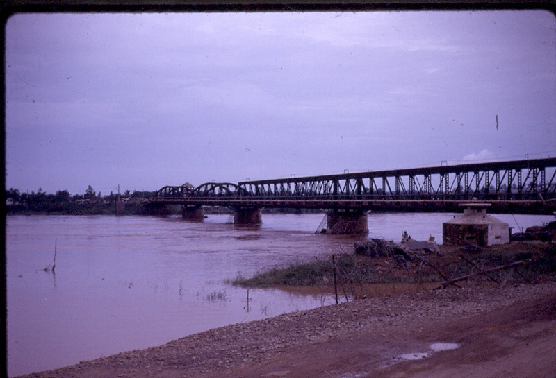 """1 Lane bridge at Quang Tri City. French Concrete Guard Hut Referred to in """"Up Country' by Nelson DeMille"""