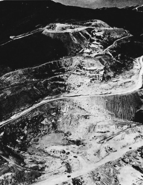 The Freedom Hill Quarry development appeared from the northeast as shown in early December 1967, just prior to turning over operation of the facility to RMK-BRJ. After turn-over, NMCB-9 began development of the Hill 494 quarry northeast of Da Nang