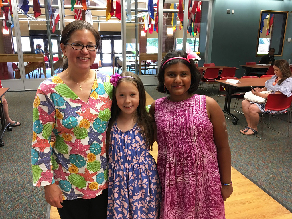 . From left, Louella Greenan with daughter Bianca and Aashna Palakkal, all of Groton