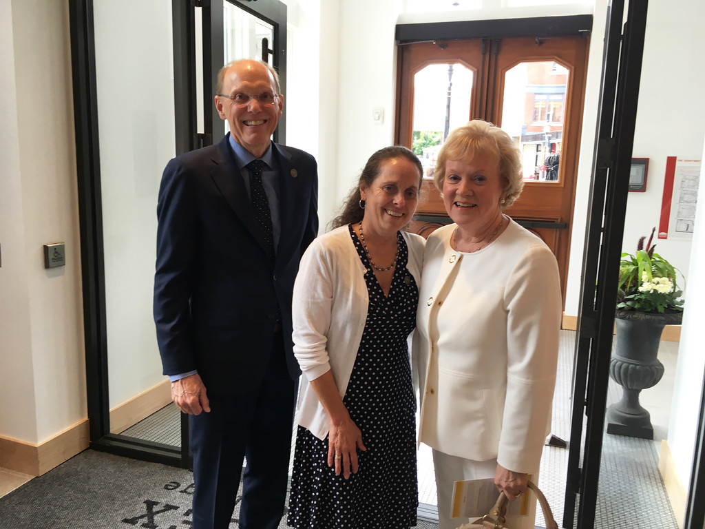 . From left, MCC President James Mabry of Bedford, Donna Corbin of Dracut, and former MCC President Carole Cowan of Florida