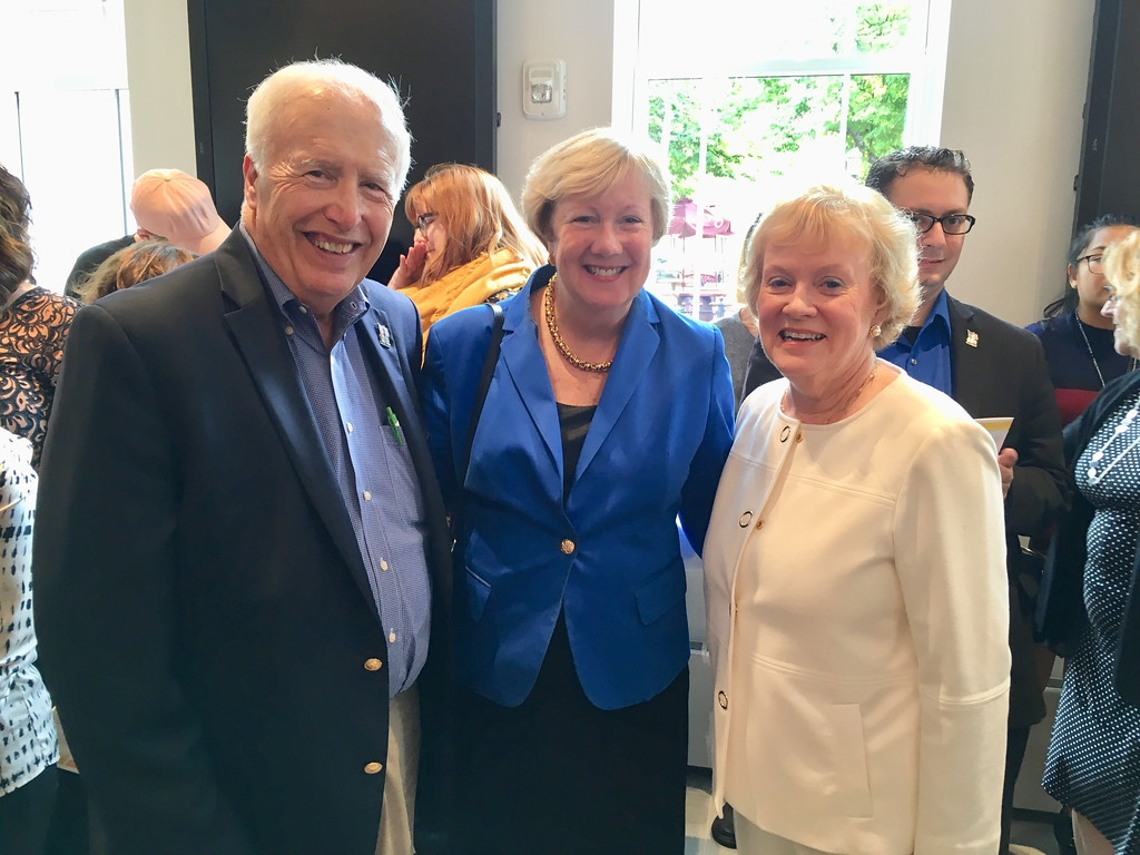 . From left, Mayor William Samaras, City Manager Eileen Donoghue and former MCC President Carole Cowan of Florida