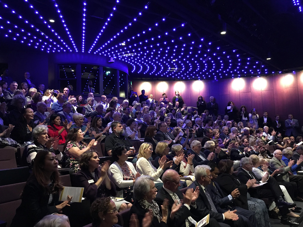 . The theater�s first full house (but certainly not the last)