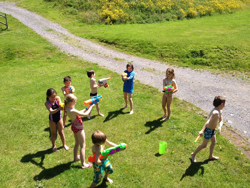 The weather was just fantastic at times, sun almost too hot, and even no breeze, just great for a water fight